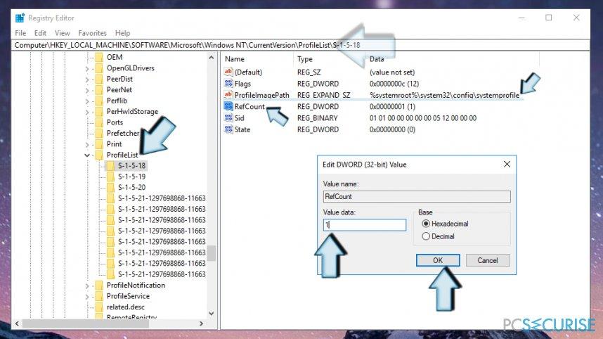 Adjust the value of RefCount key in Windows Registry