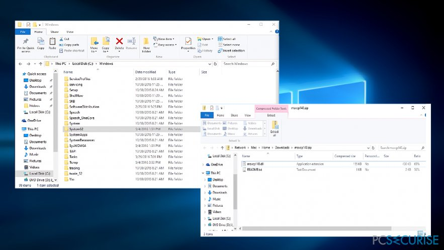 Copy the missing file into System32 folder