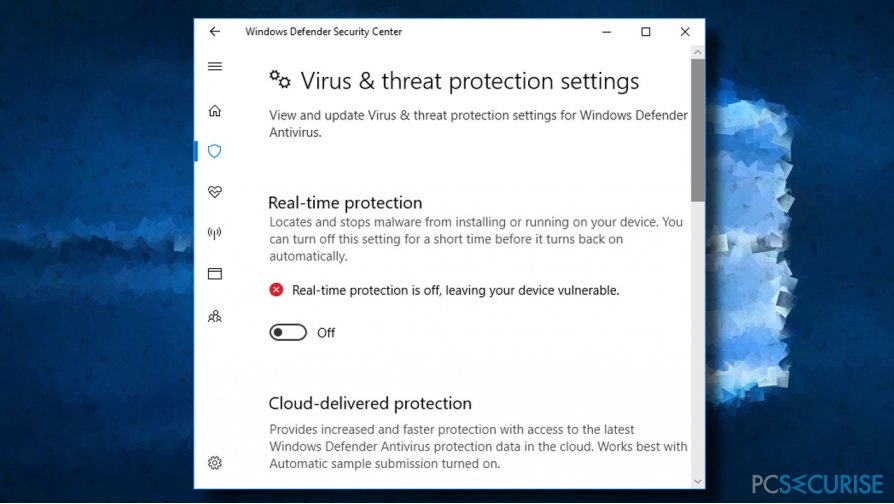 Disable real-time protection