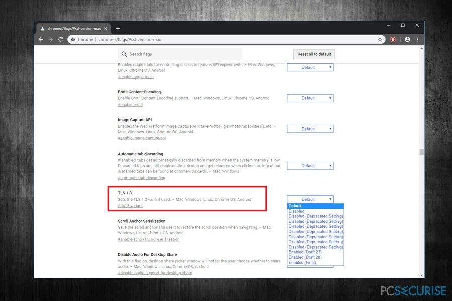Enable TLS 1.3