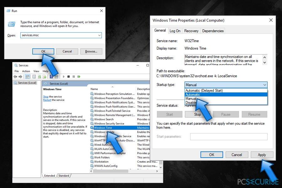 Edit Windows Time service
