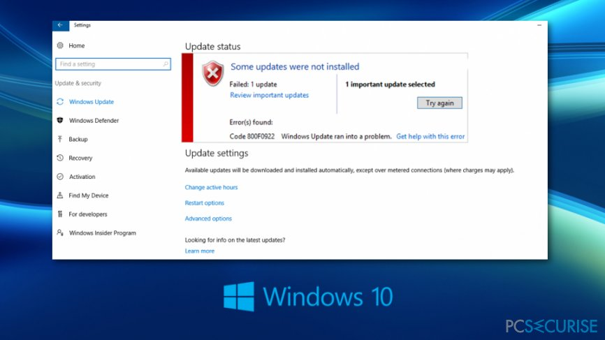 Fix Windows 10 Update Error Code 0x800F0922