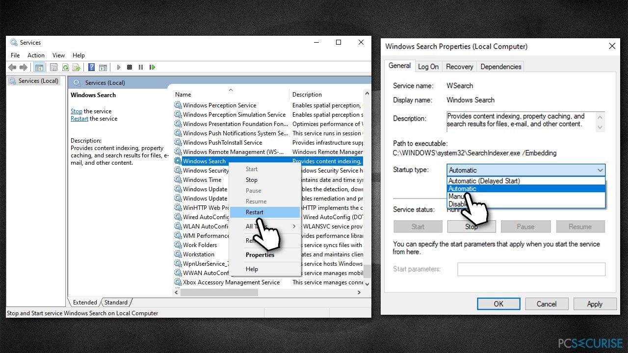 Restart Windows search service