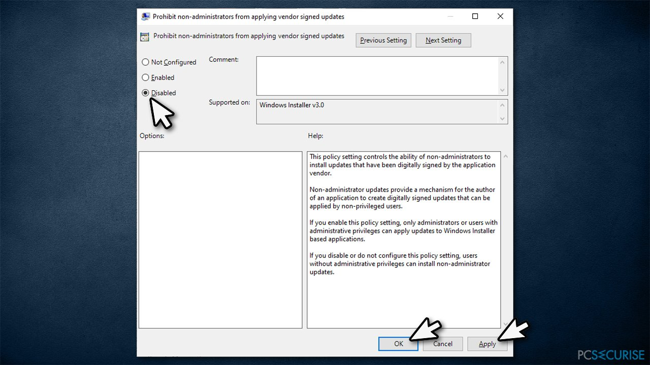 How to fix «The installation is forbidden by system policy» error?