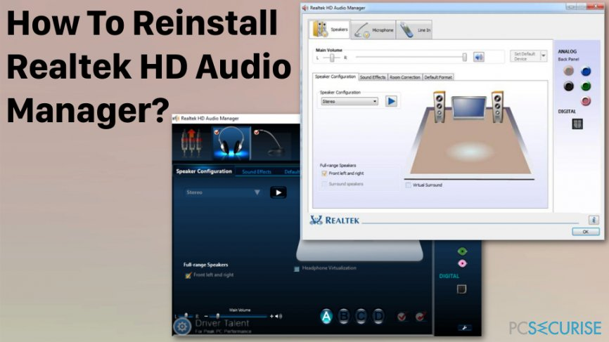 Reinstall Realtek HD Audio Manager