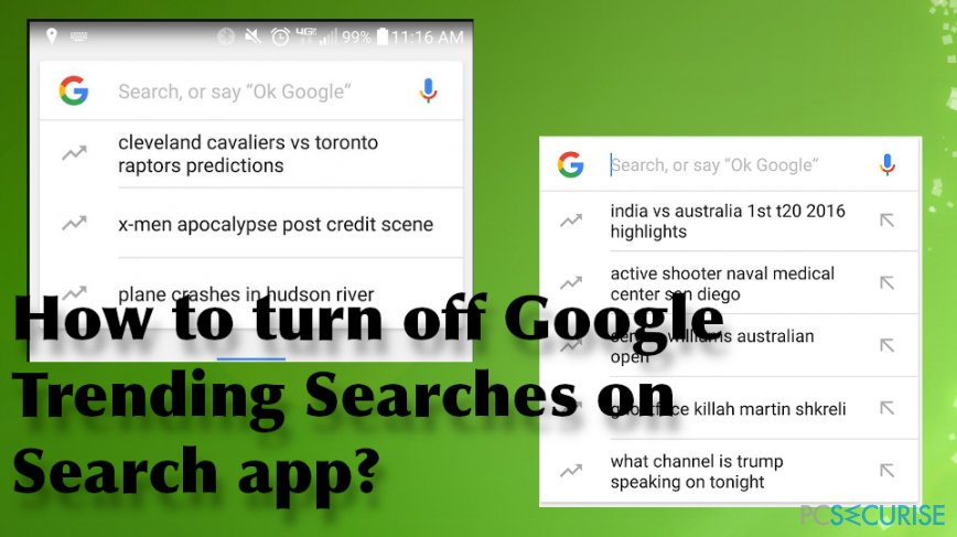 How to turn off Google Trending Searches on Search app