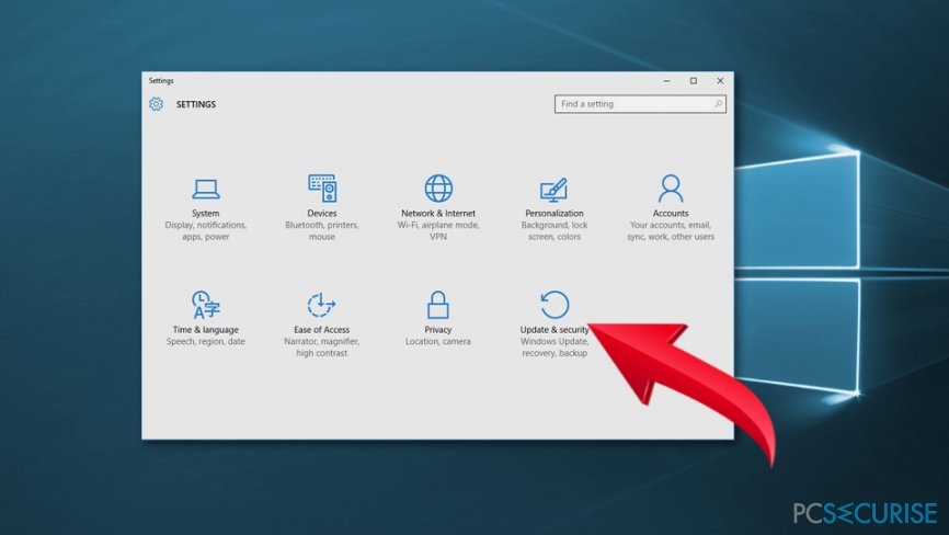 Navigate to Update and Security