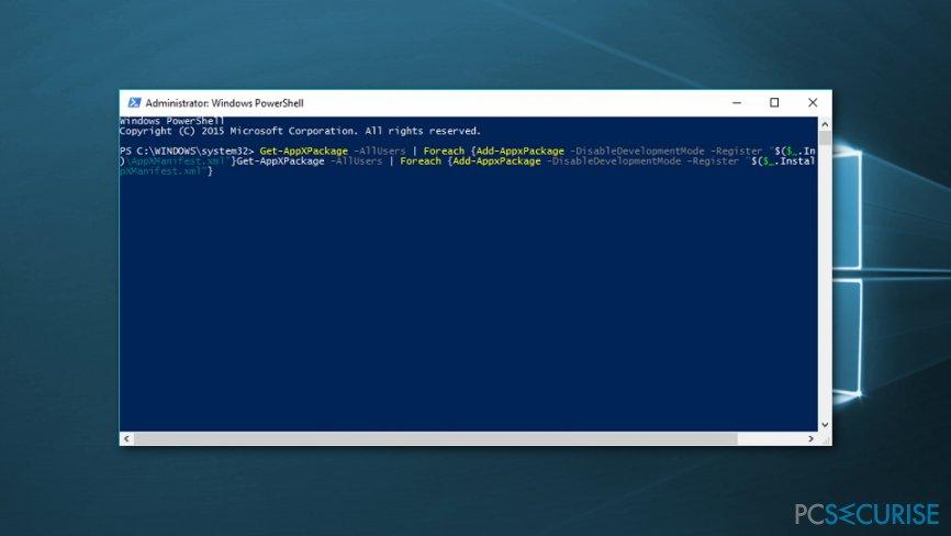 Re-register Windows 10 apps using PowerShell