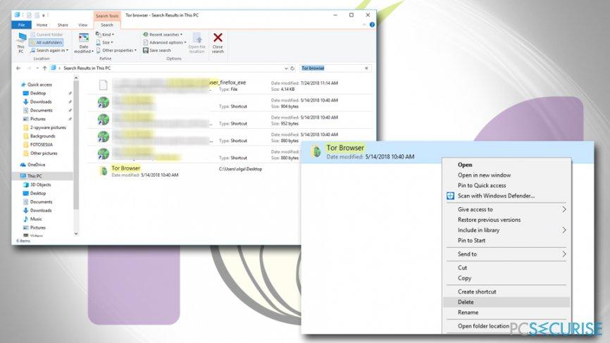 Delete Tor browser folder