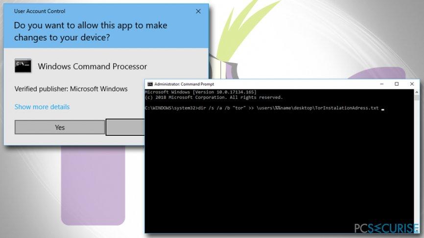Remove Tor via Command Prompt