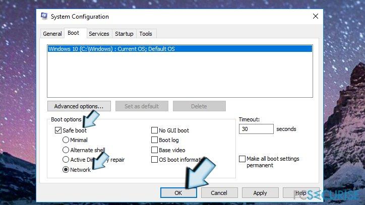 Safe Boot via System Configuration window